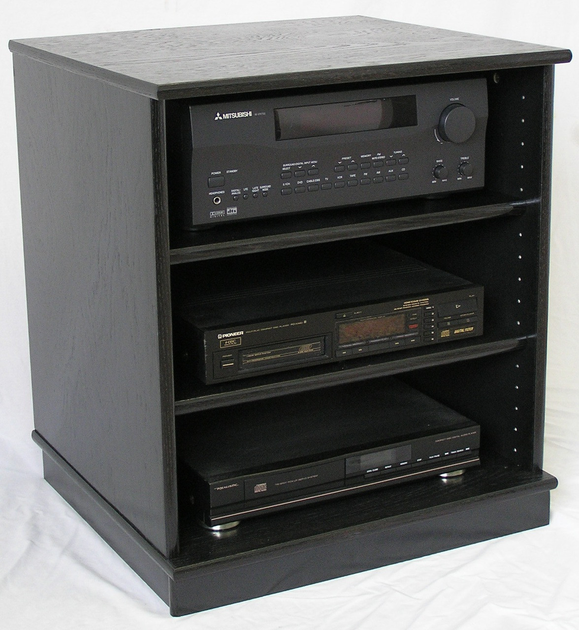 Best Front View Of Small Black Oak Entertainment Center Stereo Cabinet.  (888) 850