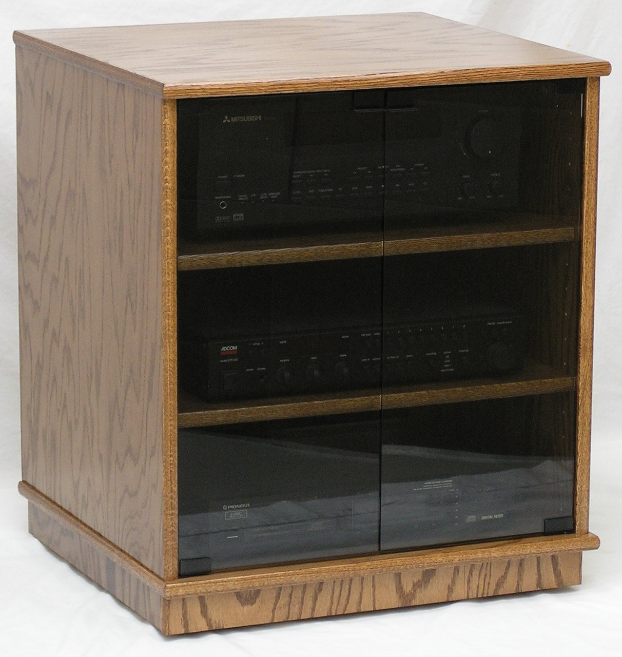 Stereo rack 27\  high with glass doors. Shown in Minwax Special Walnut stain color & Stereo Rack w Glass Doors 27\