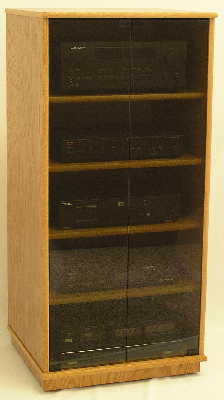 """Stereo Cabinet with Glass Doors 27"""" 73"""" High Oak Maple"""