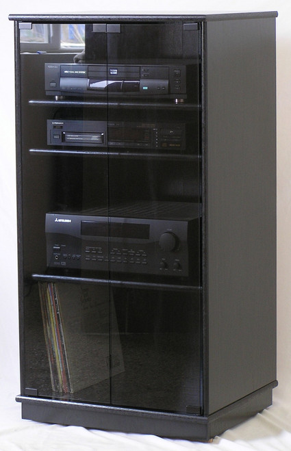Exceptionnel ... Full Front View Of A Taller Black Oak TV Stand With Gray Tint Glass  Doors Entertainment ...