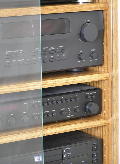 Modern Component Stereo Cabinet With Glass Doors 53 High Oak Maple