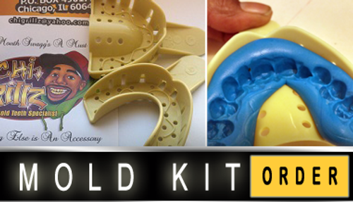 How to make a proper mold for gold teeth grillz.  1st log on to www.chigrillz.com order your starter kit and take the two different colored putty's, roll them together and make them one color should be done in the 1st 30 seconds.. Place on tray as the video shows then place on your teeth and push with your fingers.. Don't bite! Leave in for 5 minutes rinse and send back to me Shai at ChiGrillz.com and get ya shine on!!