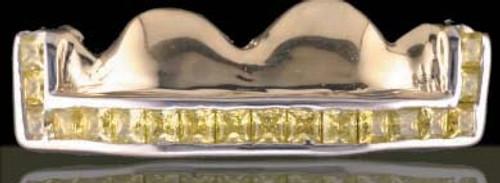 ChiGrillz Diamond Teeth Grillz Style-0511 4 Caps Gold Teeth Diamond Grillz with Carnary Princess cuts