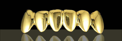 ChiGrillz Style-0248 Classic Solid All Gold Grillz 6 Cap Bottom or Top Grillz