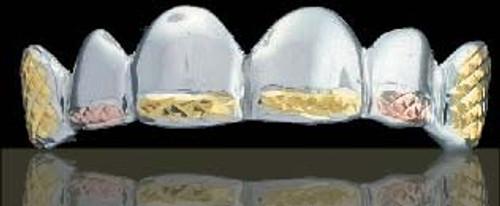 ChiGrillz Diamond Cut Grillz Style-1002 6 Caps Gold Teeth 3tone Diamond Cut Grillz for teeth