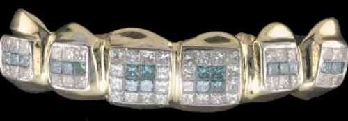 Chigrillz Diamond Teeth Grillz Style-0513 6 piece goldteeth grillz with princess cuts Custom DIAMOND ICED OUT Mouth Grill can be made in MULTI-COLORED as well as All WHITE DIAMONDS also see options.