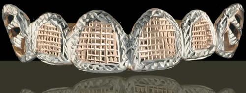 ChiGrillz Diamond Cut Grillz Style-0507 6 Caps Gold Teeth 2tone Diamond Cut Grills for teeth with rose gold diamond cuts.