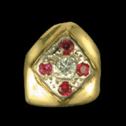 ChiGrillz Single Diamond Goldteeth Grillz Grillz Style-0024 One Gold Tooth with Rubies and one center round diamond