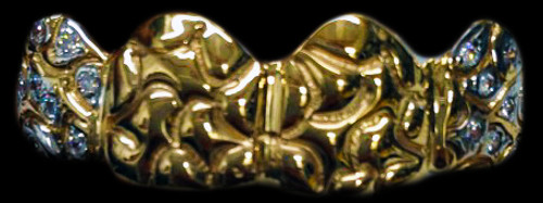 Chigrillz Nugget Grillz Style-YS712 4 Cap GoldTeeth Nugget Design 2 Caps with 10 Diamonds each