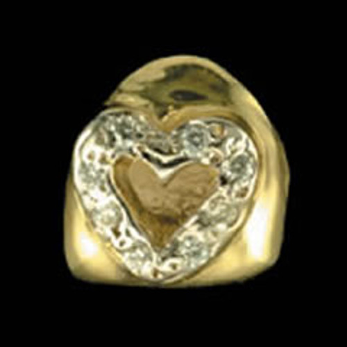 ChiGrillz Diamond Tooth Grillz Style-0001 One single gold tooth cap with open face heart and 10 2pt diamonds