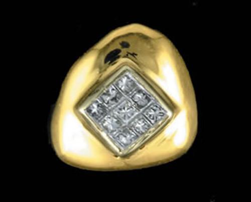 ChiGrillz Diamond Grillz Style-0036 1 single gold cap with 9 princess cut diamonds