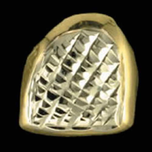 ChiGrillz Diamond Cut Grillz Style-0099 1 Single Gold Tooth cap with Diamond Cuts