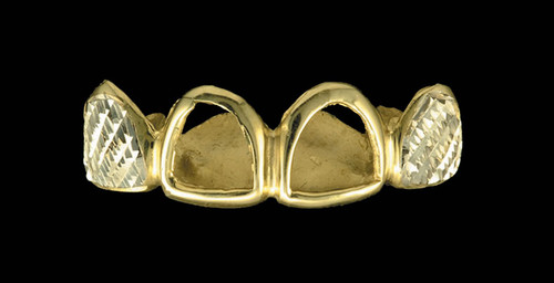 ChiGrillz Diamond Cut Grillz Style-0199 4 Goldteeth Caps with diamond cuts and open face