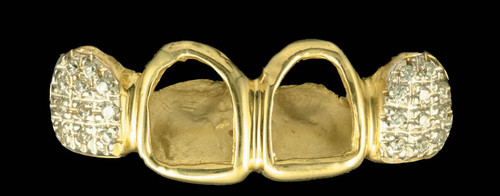 Chigrillz Diamond Grillz Style-0209 4 goldteeth caps w 22 Diamonds 2 open face