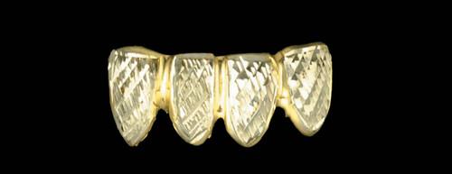Chigrillz Diamond Cut Grillz Style-0215 4 Gold Caps diamond cuts
