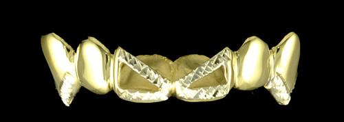 Chigrillz Diamond cut Grillz Style-0257 6 Cap Goldteeth Cut off Open Face Center Diamond Cut Design w medium fangs Grillz