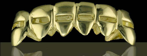 Chigrillz Cut out grillz design Style-0388 6 gold caps with cut out design