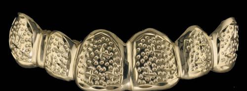 ChiGrillz Style-0399 6 Cap Gold trillion cut design