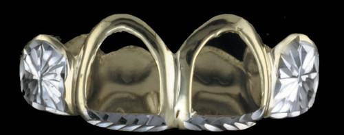 ChiGrillz Diamond Cut GoldTeeth Style-0407 4 Cap Gold Teeth Grillz open face diamond cut trim and sunburst cuts whole cap