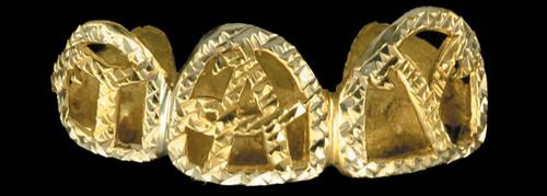 ChiGrillz Diamond Cut Grillz Style-0162 diamond cut cursive initial open face