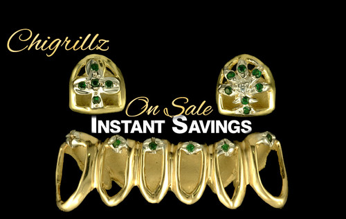 Style-2003 St. Paddy's Day Celebration Grillz Sale 2 Open face Caps Emerald Diamond Caps on Top 6 Open face Caps on bottom with 8 Emerald green Diamonds ChiGrillz Green Day Sale