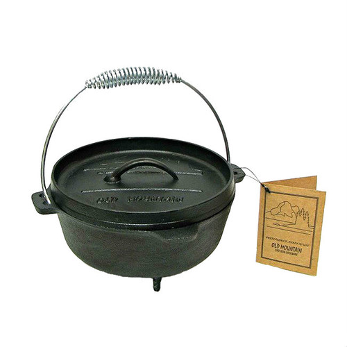 Old Mountain Cast Iron Pre-Seasoned 2 Qt Dutch Oven with Lid and Feet