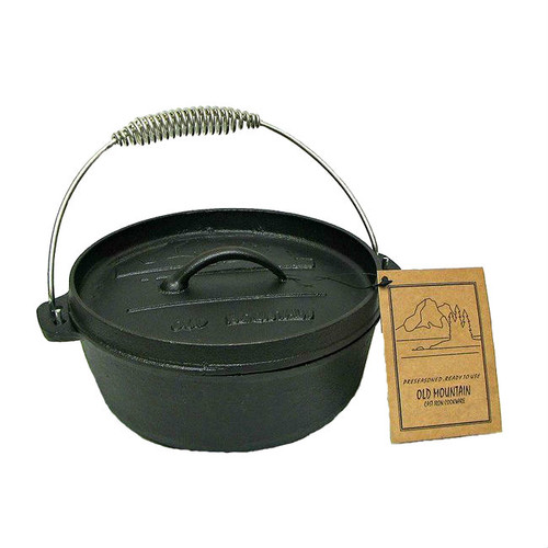 Old Mountain Cast Iron Pre-Seasoned 2 Quart Dutch Oven with Flange Lid