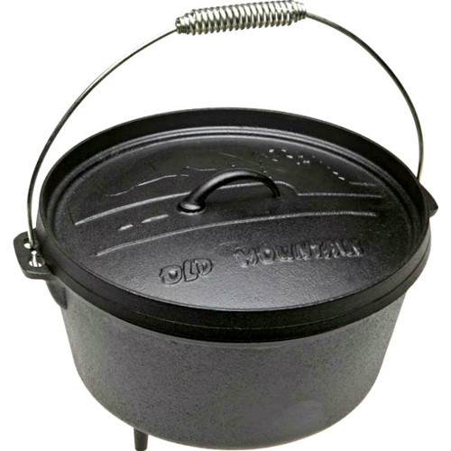 Old Mountain Cast Iron Pre-Seasoned 8 Quart Footed Dutch Oven with Flange Lid