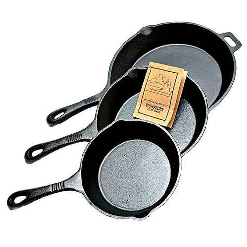 Old Mountain Cast Iron Pre-Seasoned Three Piece Skillet Set