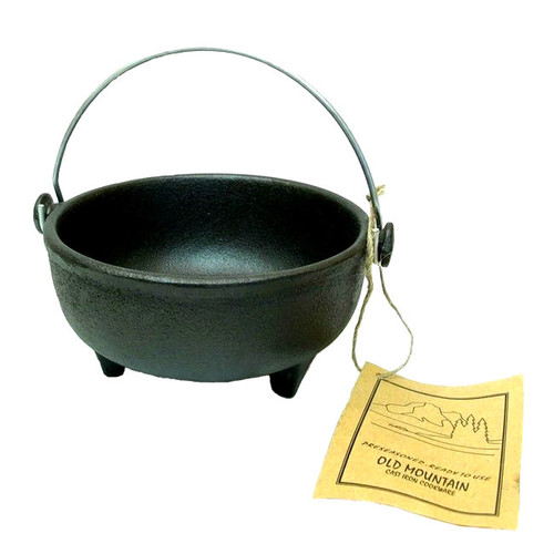 Old Mountain Cast Iron Pre-Seasoned Footed Kettle with Wire Handle