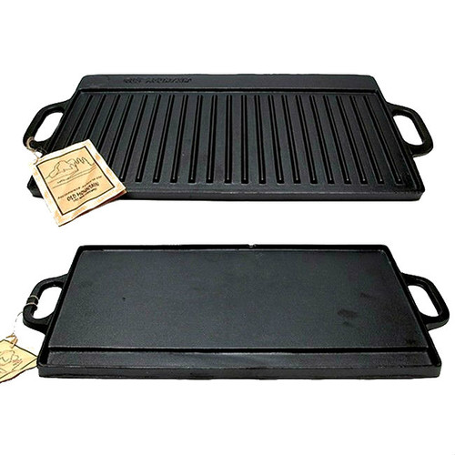 Old Mountain Black Cast Iron Two Burner 20x9 Reversible Griddle Grill 166-10119