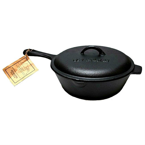Old Mountain Cast Iron Pre-Seasoned 3 Qt Deep Fry Skillet with Lid
