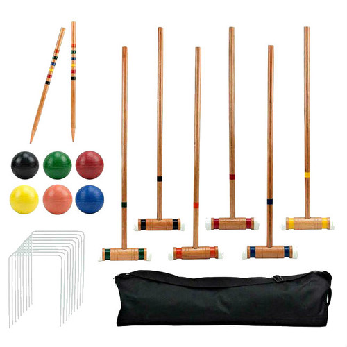 6 Player Wood Croquet Game Set with Deluxe Carrying Case