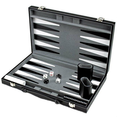 Backgammon Game Set in Black Leatherette Case with Carrying Handle