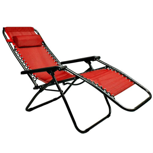 Red Ergonomically Designed Zero Gravity Folding Lounge Chair
