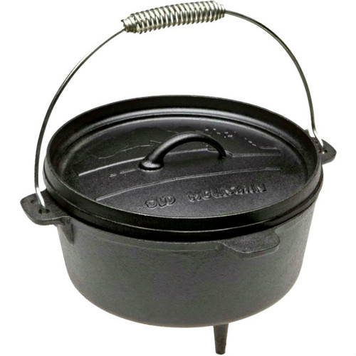 Old Mountain Cast Iron Pre-Seasoned 4 Quart Footed Dutch Oven with Flange Lid