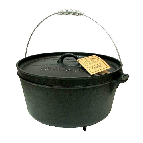 Old Mountain Cast Iron Pre-Seasoned 12 Quart Footed Dutch Oven with Flange Lid