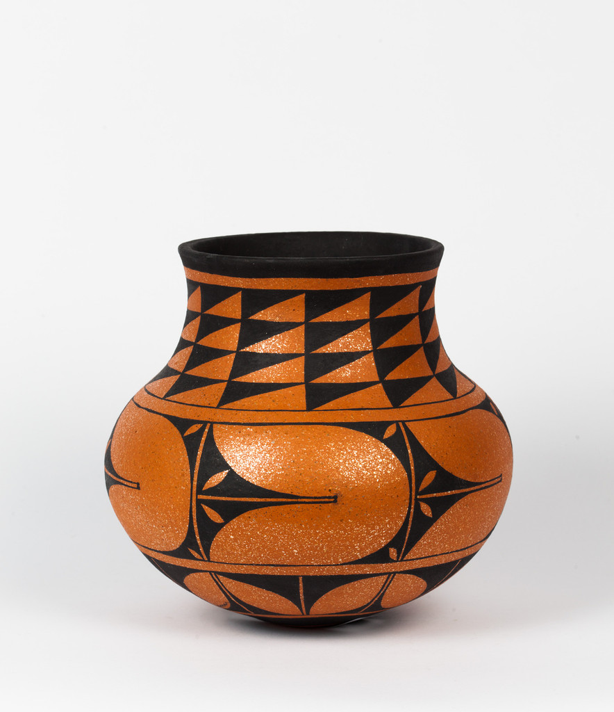 Black on Red Mica Clay Vase