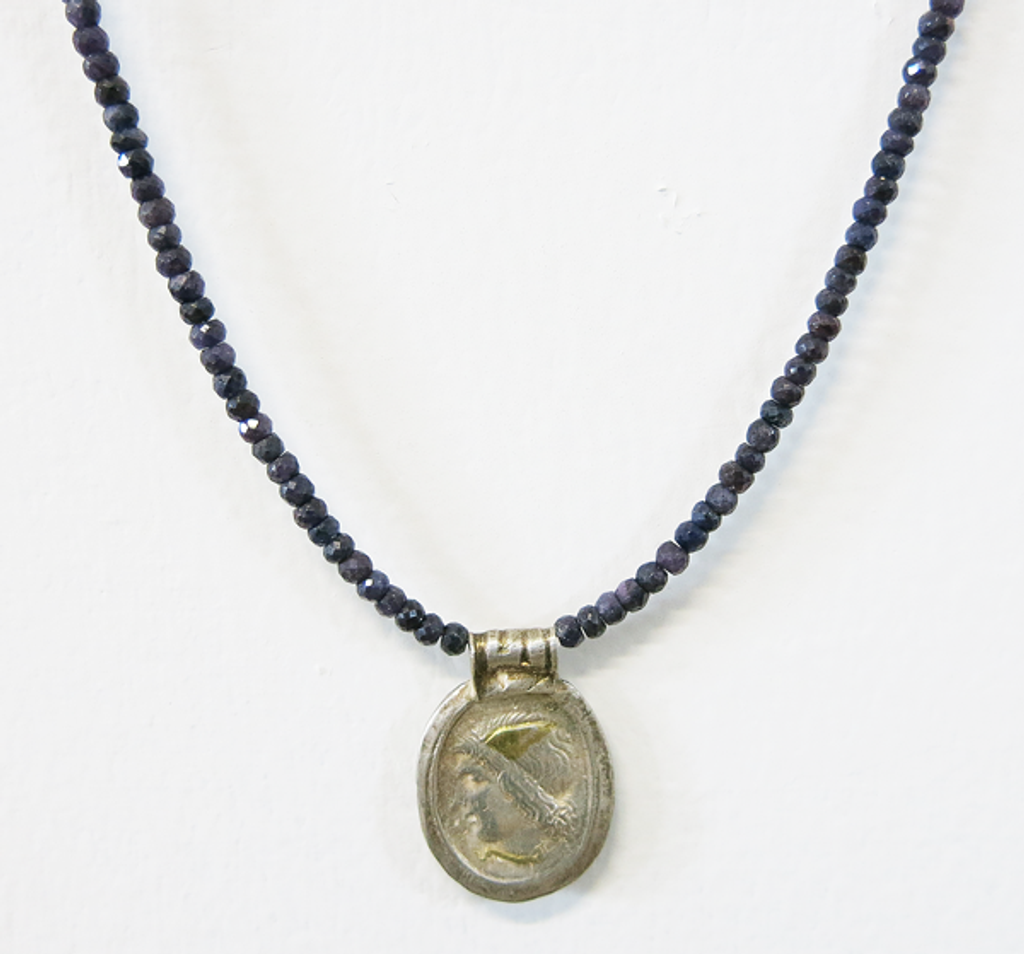 Unpolished Sapphire + Silver Necklace