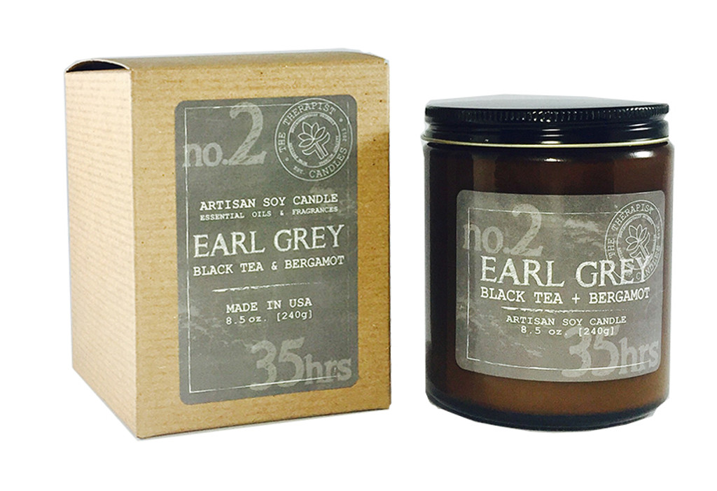 earl grey - bergamot essential oil and premium fragrance scented soy candle with  crackling wood wick