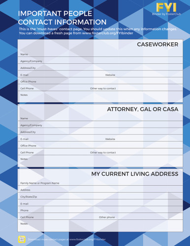 Important People Contact Information Page - FREE Download