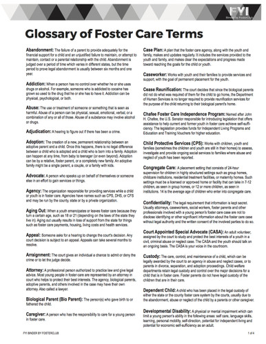 Glossary of Foster Care Terms - FREE Download