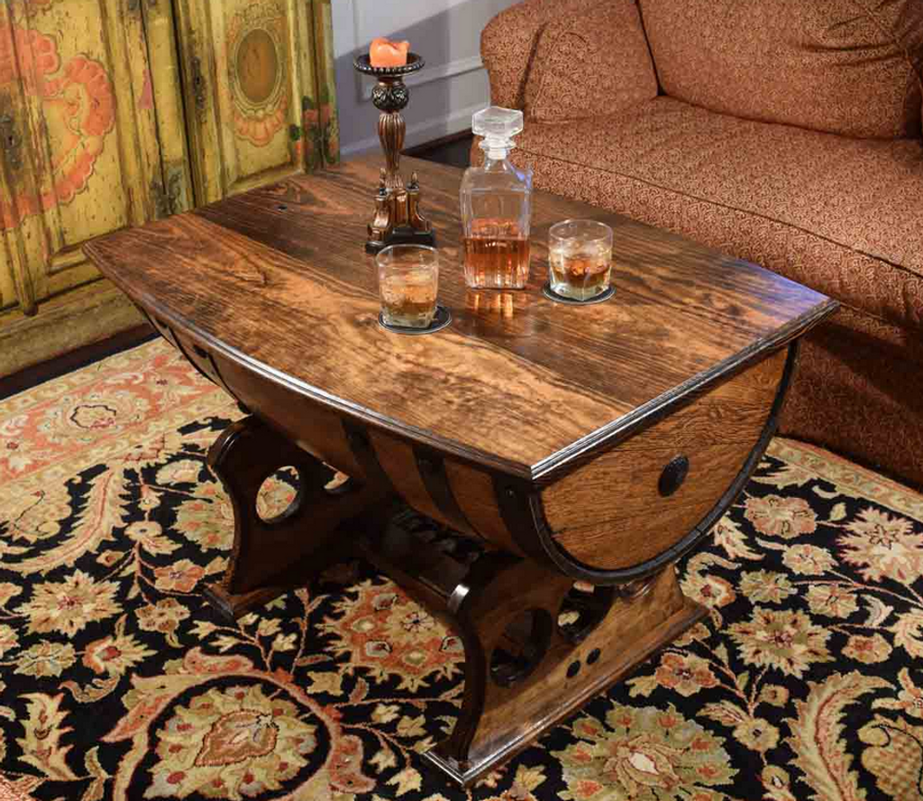 Nice Reclaimed Whiskey Barrel Table With Solid Top