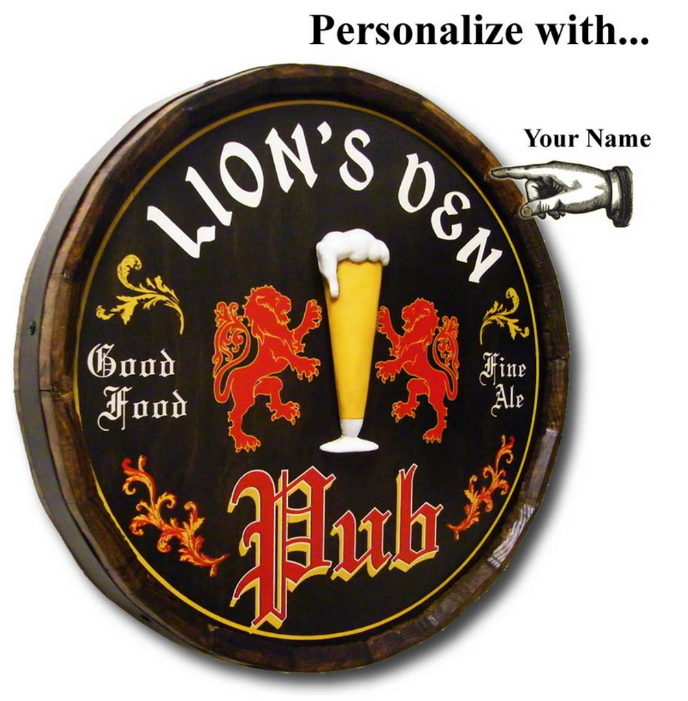English Pub Personalized Quarter Barrel Sign