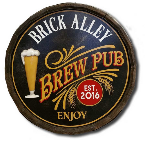 'Brew Pub' Personalized Quarter Barrel Sign