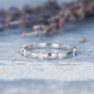 14K White Gold Half Eternity Band Wedding Band