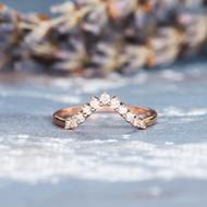 Women Diamond Stacking Half Halo Curved  Ring