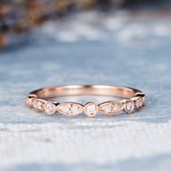 Wedding Band Rose Gold Ring Diamond Eternity Band