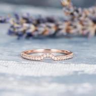 Thin Dainty Half Halo Curved Wedding Bridal Ring
