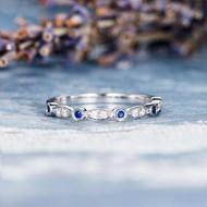 Sapphire Wedding Band Diamond White Gold Ring